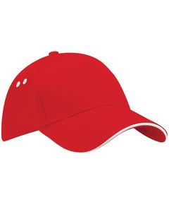 Beechfield Unisex Ultimate 5 Panel Contrast Baseball Cap With Sandwich Peak / Headwear (pack Of 2)