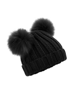 Beechfield Womens/ladies Faux Fur Double Pop Pom Beanie