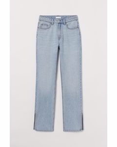 Straight High Split Jeans Ljus Denimblå