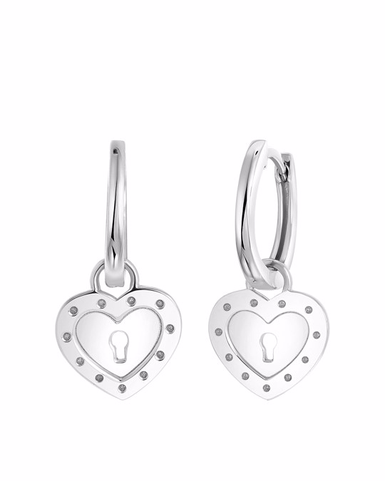 Lucardi Ohrringe, 925 Silber, Mit Anhänger, Herz/schlüssel