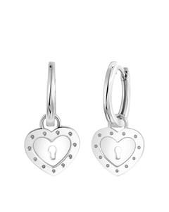 Zilveren Oorringen Met Hanger Hart/sleutel