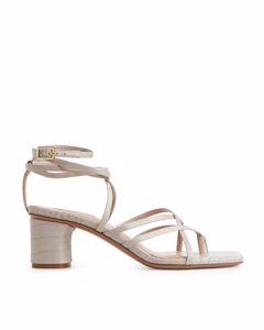 Strappy Leather Sandals Beige