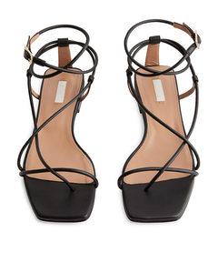 Flat Leather Strap Sandal Black