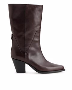Leather Cowboy Boots Dark Brown