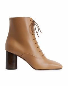 Lace-up Leather Boots Light Brown