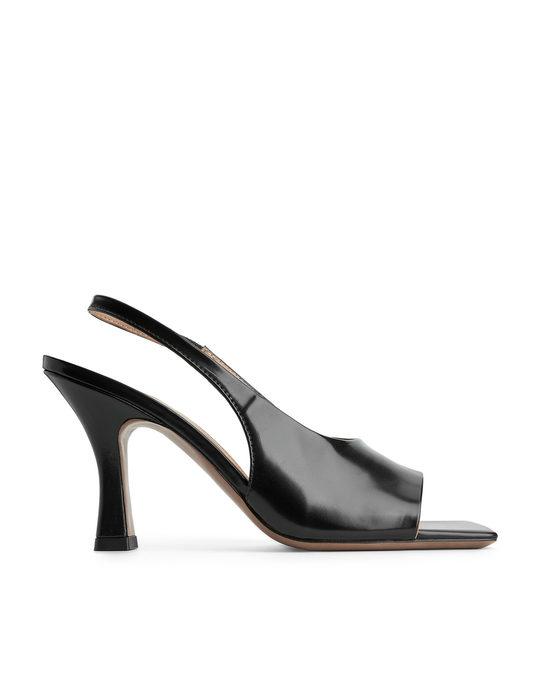 Arket Square-toe Leather Slingbacks Black