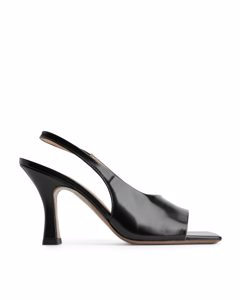 Square-toe Leather Slingbacks Black