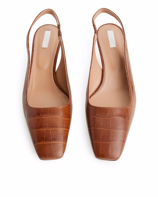 Arket Square-toe Leather Slingbacks Brown