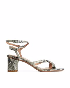 Ankle-wrap Leather Sandal Grey