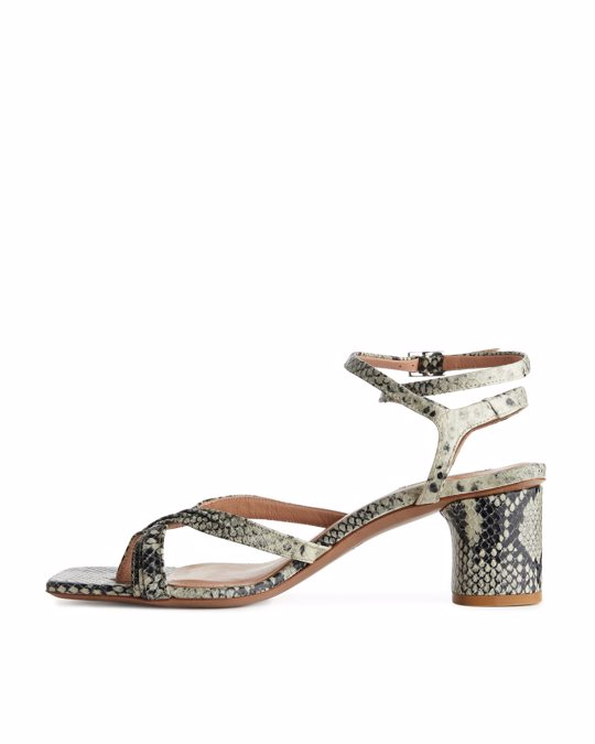 Arket Ankle-wrap Leather Sandal Grey
