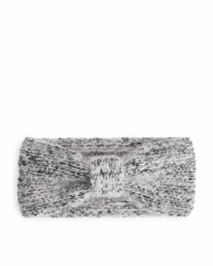 Top Knot Knitted Headband Grey Melange