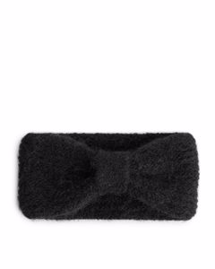 Top Knot Knitted Headband Black