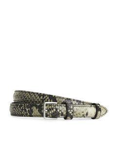 Slender Embossed Leather Belt Grey/black