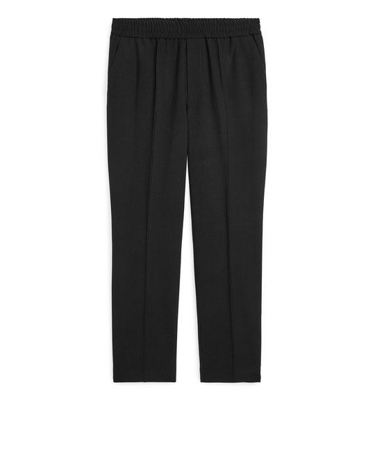 Arket Elastic-waist Wool Hopsack Trousers Black