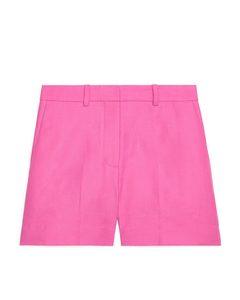 Dressed Cotton-hemp Shorts Pink