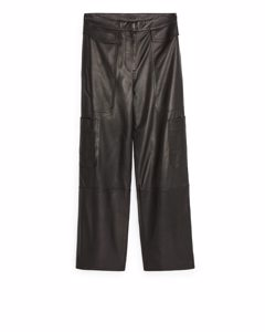 Leather Cargo Trousers Black