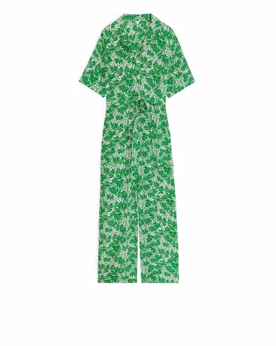 Arket Floral Jumpsuit White/green