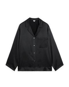 Silk Pyjama Shirt Black