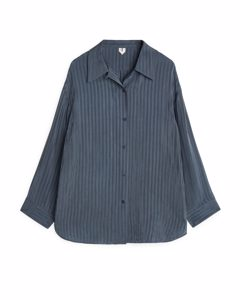 Striped Cupro Shirt Stahlblau