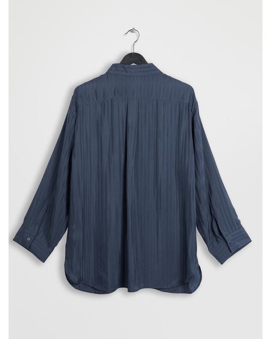 Arket Striped Cupro Shirt Steel Blue