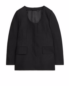 Fitted Cotton Blazer Black