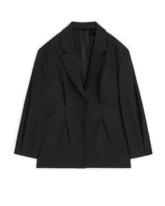 Cinched-waist Wool Blend Blazer Black