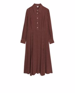 Patterned Crêpe Dress Brown/white