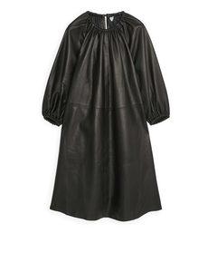 Gathered Leather Dress Black