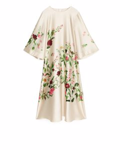 Fluid Satin Dress Floral/off-white