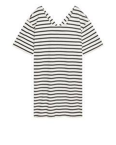 Square-neck Jersey Dress White/black
