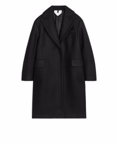Single-button Wool Coat Black