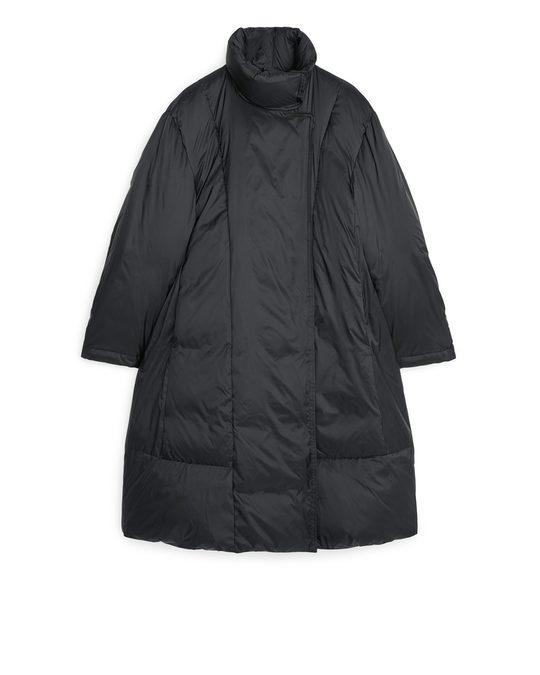 Arket A-line Down Puffer Coat Black