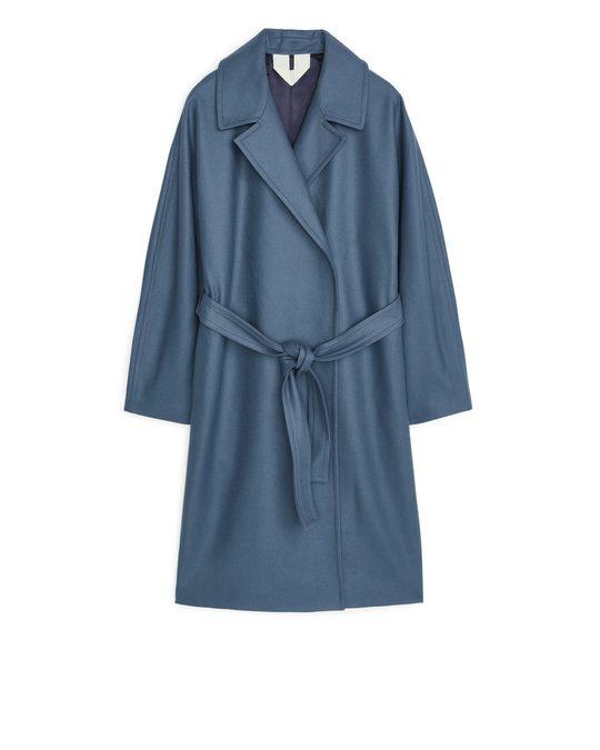 Arket Melton Wool Belted Coat Blue