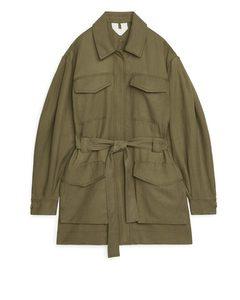 Flowy Workwear Jacket Khaki Green