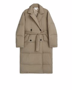 Down Puffer Trench Coat Beige