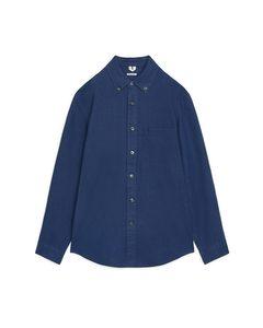 Heavyweight Button-down Linen Shirt Dark Blue