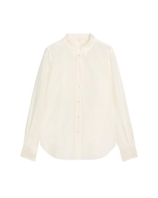 Arket Slim Silk Shirt Off White