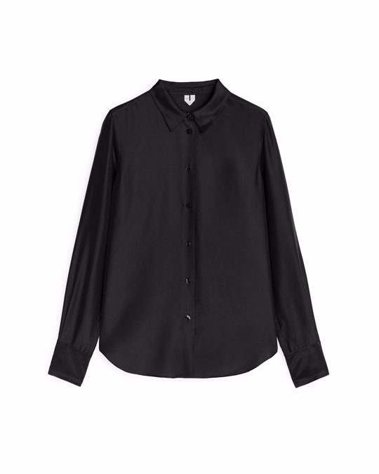 Arket Slim Silk Shirt Black