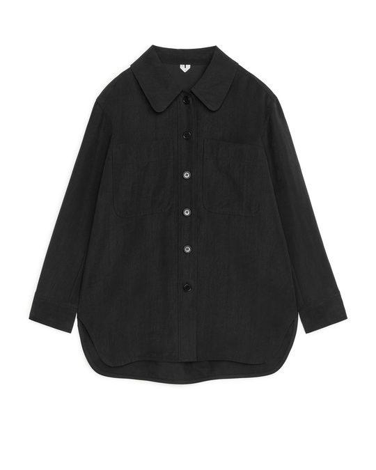 Arket Lyocell Overshirt Black