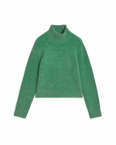 Alpaca Blend Cropped Jumper Green Melange