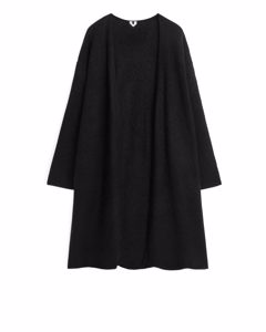 Alpaca Blend Long Cardigan Black