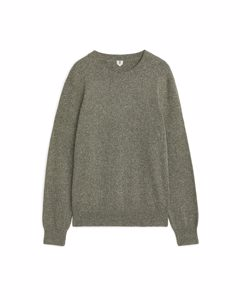 Silk Blend Crewneck Jumper Khaki Green