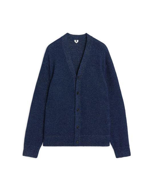 Arket Cotton V-Neck Cardigan Dark Blue