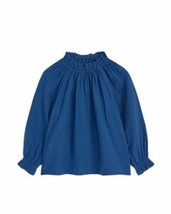 Natural Dye Frill Blouse Dark Blue