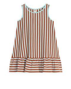 Frill Tank Dress Orange/turquoise