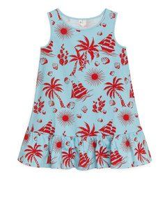 Frill Tank Dress Turquoise/island Print