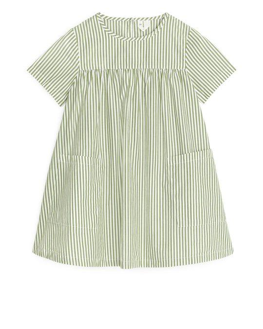 Arket Pima Cotton Poplin Dress Green/stripe