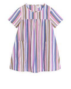 Kleid aus Pima-Baumwolle und Popeline Blau/Rosa