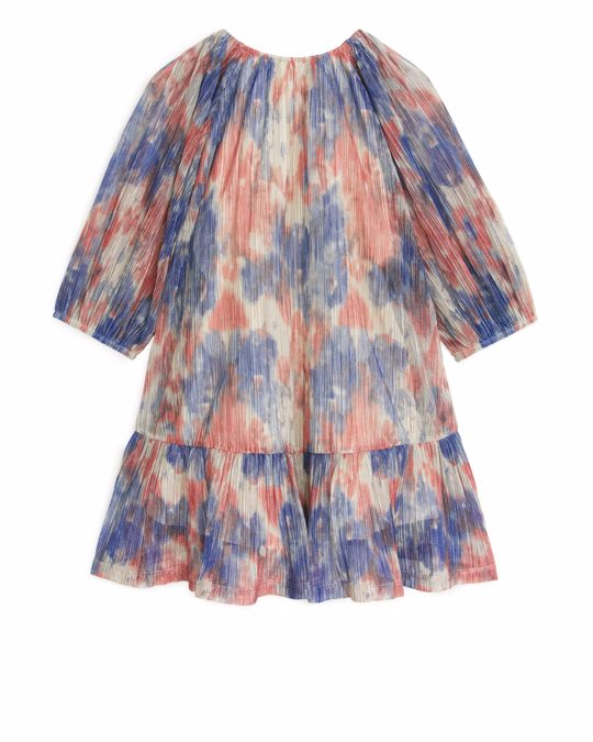 Arket Shimmering Balloon-sleeve Dress Blue/print