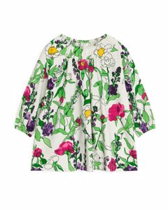 Garden Flora Balloon-sleeve Jersey Dress Floral/off-white